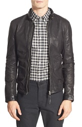 J. Lindeberg 'Trey 56' Leather Jacket Black