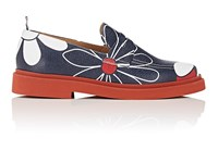 Thom Browne Floral Print Leather Penny Loafers Navy