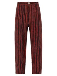 Martine Rose Double Pocket Striped Linen Trousers Red