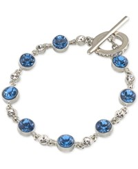 Carolee Silver Tone Blue And Clear Crystal Toggle Bracelet Md Multi