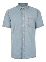 Topman Grey Melange Denim Short Sleeve Casual Shirt