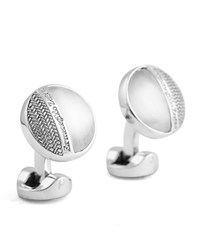 Ermenegildo Zegna Fiber Optic And Herringbone Cuff Links Silver