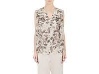 Pas De Calais Women's Leaf Print Sleeveless Blouse Tan