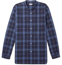 Camoshita Grandad Collar Checked Cotton Shirt Blue