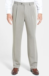 Men's Big And Tall Cutter And Buck Double Pleated Microfiber Pants Oyster Beige