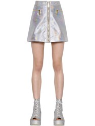 Kenzo Cropped Iridescent Leather Mini Skirt