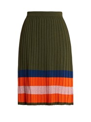House Of Holland Striped Hem Gathered Wool Blend Skirt Khaki Multi