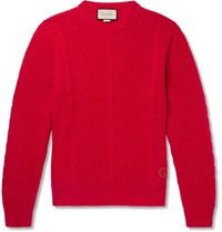Gucci Logo Embroidered Cable Knit Wool Sweater Red
