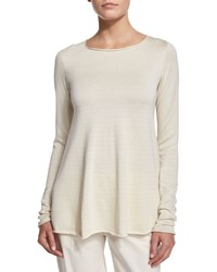 The Row Abelle Long Sleeve Trapeze Sweater Natural