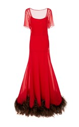 Cf. Goldman Short Sleeve Feather Gown Red