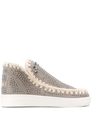 Mou Embellished High Top Sneakers Grey