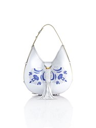 Shanghai Tang Palm Embroidery Leather Hobo White