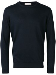 Laneus Long Sleeve Fitted Sweater Blue