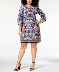 Ny Collection Plus And Petite Plus Size Printed Boat Neck Shift Dress Pink Throneboard