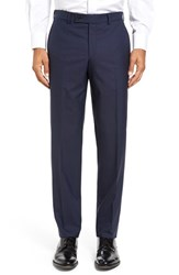 Ted Baker Men's London Jefferson Flat Front Solid Wool Trousers Navy