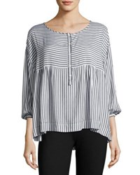 Max Studio 3 4 Sleeve Striped Blouse Black White