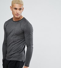 Only And Sons Long Line Long Sleeve T Shirt With Faux Layer Detail Phantom Black