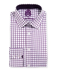 English Laundry Windowpane Check Textured Dress Shirt Purple