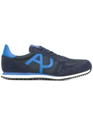 Armani Jeans Running Sneakers Men Cotton Leather Nylon Rubber 9 Blue