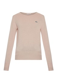 See By Chloe Lips Embroidered Lightweight Knit Sweater