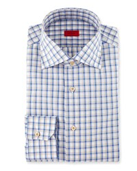 Isaia Box Check Dress Shirt Blue Tan
