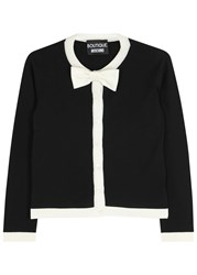 Boutique Moschino Black Bow Embellished Wool Blend Cardigan