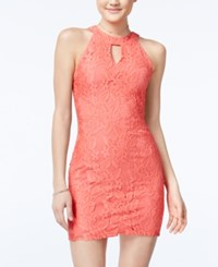 Speechless Juniors' Mock Neck Lace Bodycon Dress Coral