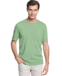 Tasso Elba Island Short Sleeve Slub Crew Neck Pocket T Shirt Mist Green