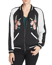 Aqua Floral Embroidered Bomber Jacket Black