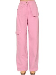Jacquemus High Waist Cotton Denim Cargo Pants Pink
