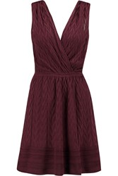 M Missoni Wrap Effect Crochet Knit Wool Blend Dress Red