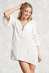 Forever 21 Crochet Lace Cover Up Kaftan Cream