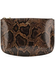 A.P.C. Snakeskin Printed Clutch Brown