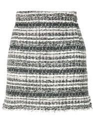 Thom Browne Banker Stripe Lace Ribbon Mini Skirt Grey