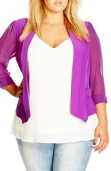 City Chic Plus Size Women's Drapey Mixed Media Blazer Kapow
