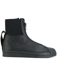 Yohji Yamamoto Embossed Zipped Sneakers Leather Rubber Polyamide 6.5 Black