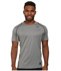 Nike Hypercool Fitted S S Carbon Heather Black Black Men's Short Sleeve Pullover Gray