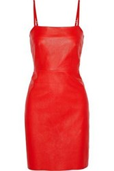 Veda Leather Mini Dress Red