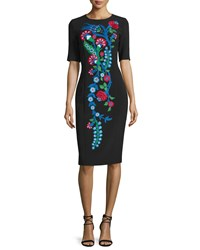 Andrew Gn Embroidered Half Sleeve Crepe Sheath Dress Black Size 36