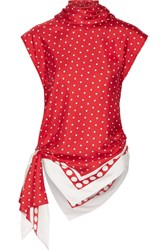 Monse Asymmetric Polka Dot Silk Twill Top Red