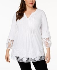 Charter Club Plus Size Cotton Crochet Trim Top Created For Macy's Bright White