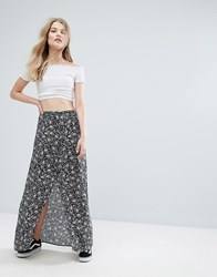 New Look Button Front Maxi Skirt Black Pattern