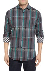Thomas Dean Men's Big And Tall Regular Fit Jacquard Plaid Sport Shirt Charcoal