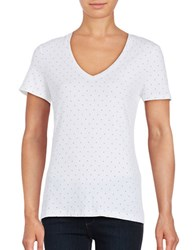 Lord And Taylor Austin Dot Short Sleeve V Neck Tee White