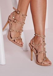 Missguided Studded Heeled Gladiator Sandals Blush Pink