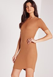 Missguided Ribbed Jersey Curve Hem Bodycon Dress Brown Brown