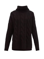 Nili Lotan Brynne Roll Neck Cable Knit Cashmere Sweater Black
