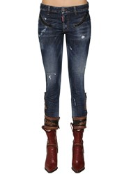 Dsquared Skinny Denim Jeans W Leather Details