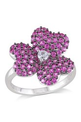 Sterling Silver Created Pink And White Sapphire Flower Cluster Ring