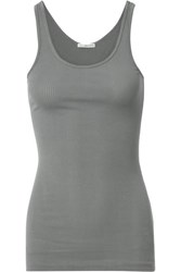 James Perse The Daily Ribbed Stretch Supima Cotton Tank Gray Green